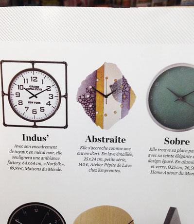 Horloge Pépite de lave nommée Abstraite