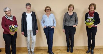 Vorstand 2021 v.l.n.r. Pia Mattmann, Lisbeth Hofmann, Carine Sommariva, Verena Röhm Günther, Ursula Thüring-Weibel