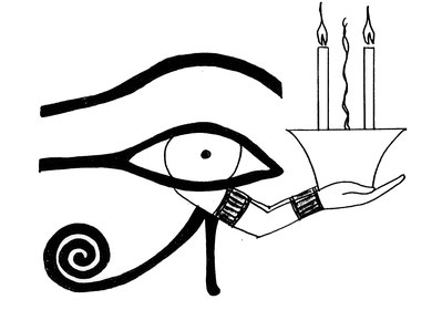 Sacred Egyptian Eye  illustration offering incense and candles
