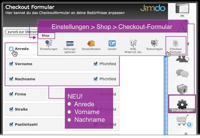 Screenshot: Jimdo CMS Checkout Formular Online-Shop