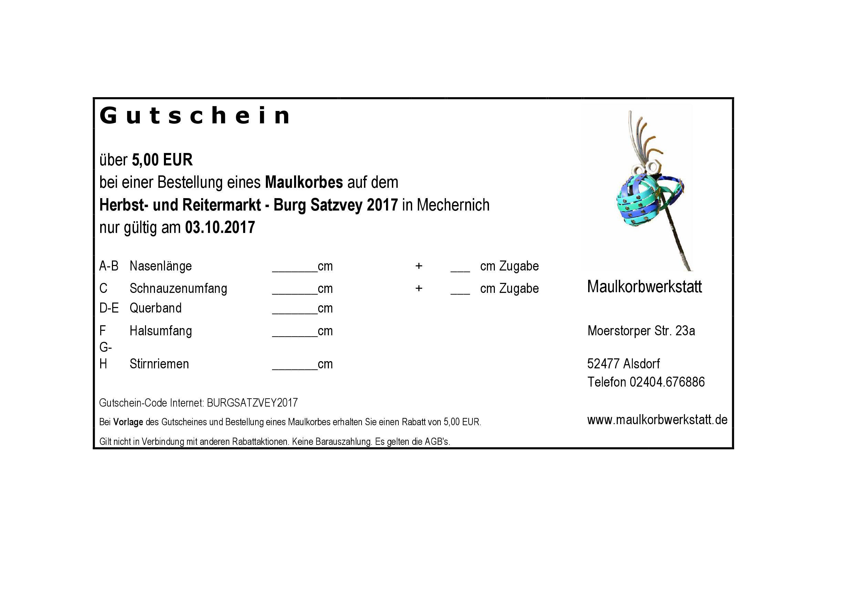 Gutschein - Herbst- und Reitermarkt 2017 - Burg Satzvey Mechernich ...