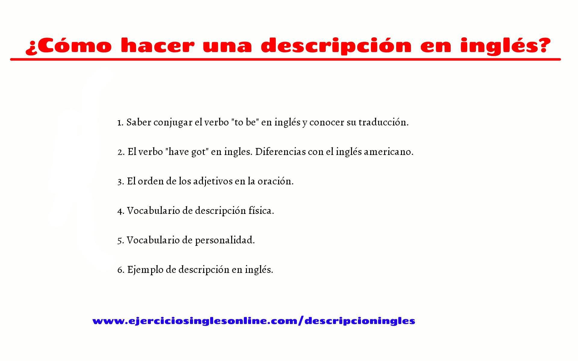 Descripciones En Inglés Ejercicios Inglés Online