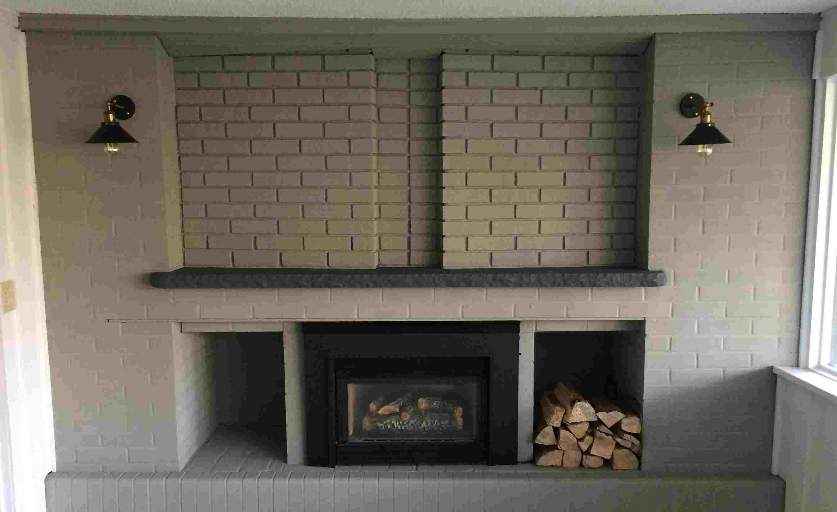 Fireplace Brick Mantle And Hearth Painted With Arborcoat Solid