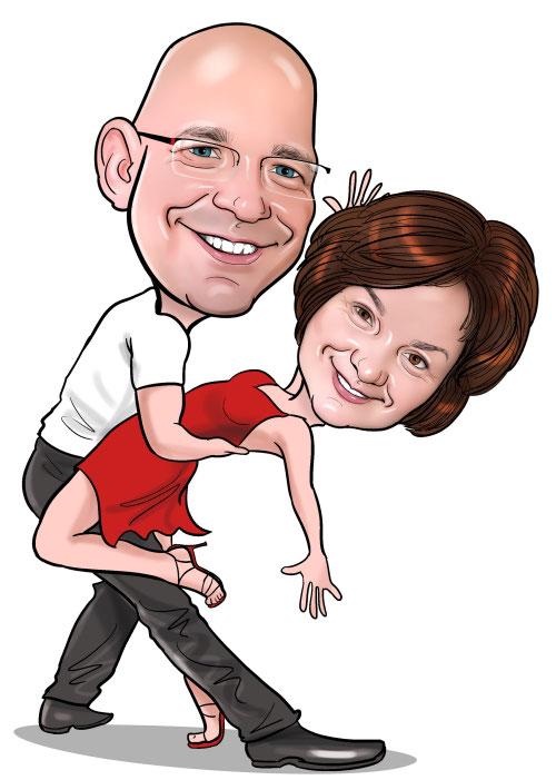 Karikatur Tanzendes Paar Tanz Portrait Vom Foto Zeichnen Erstellen Lassen Von Dirk Muller Aus Dresden Und Anderen Karikaturisten