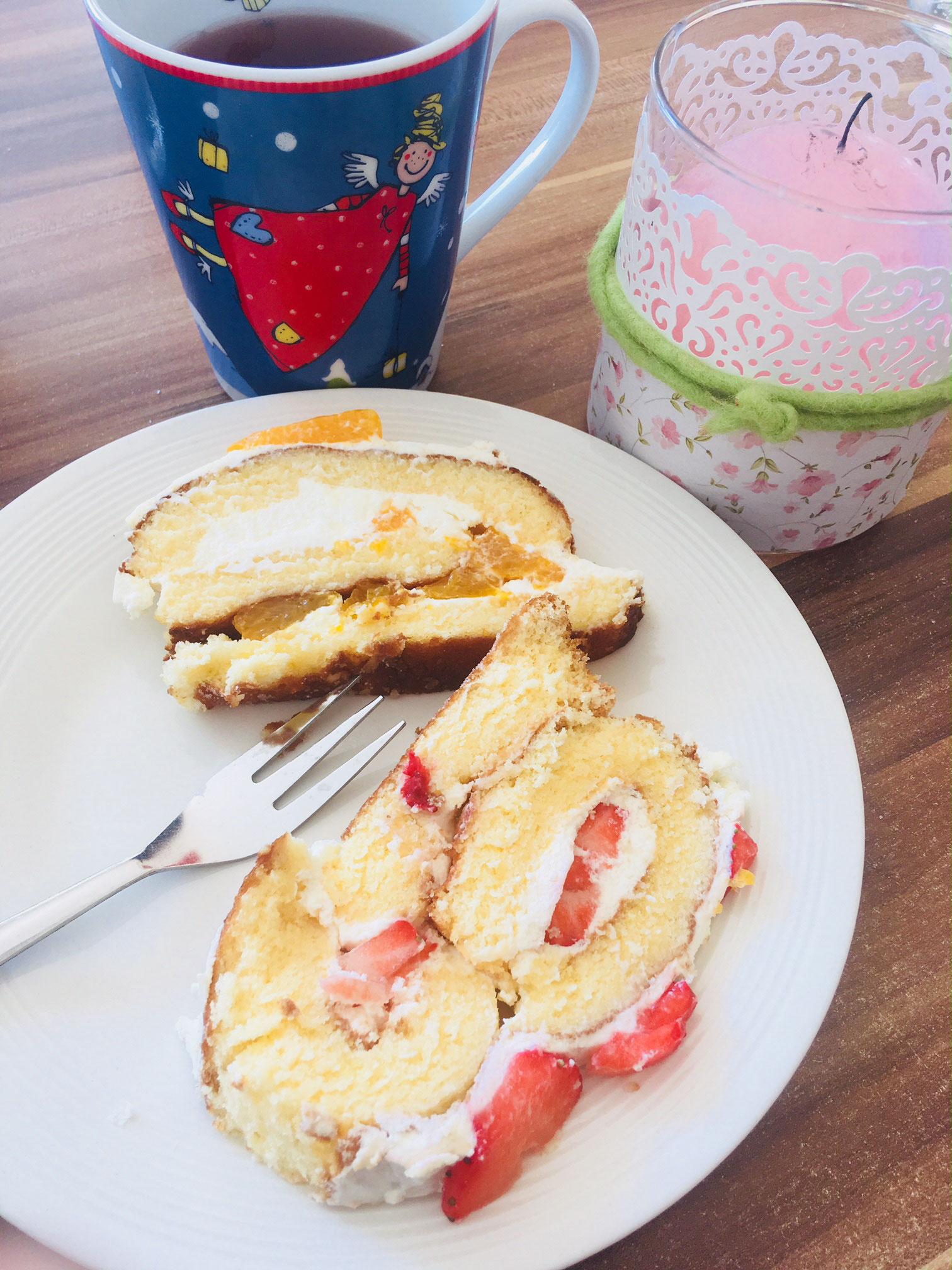 Biskuitrolle Mit Erdbeeren Oder Mandarinen Im Thermomix