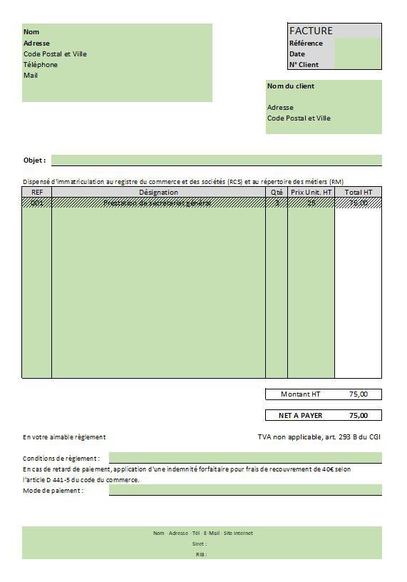 Outil gratuit : Exemple de facture pour auto-entrepreneur - VH2A Secrétariat