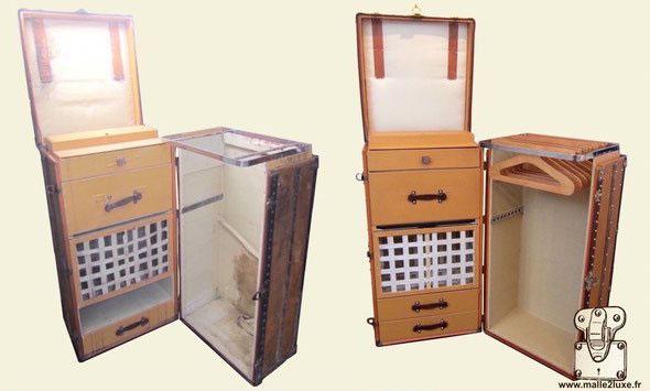 restauration malle secretaire linge vuitton malle louis vuitton. Black Bedroom Furniture Sets. Home Design Ideas