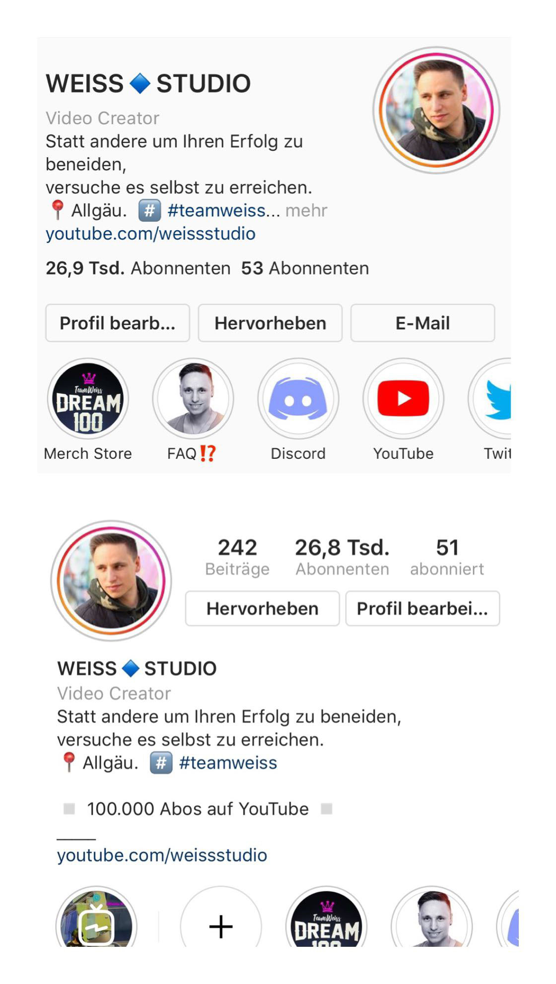instagram neues Profil Design - WeissStudio