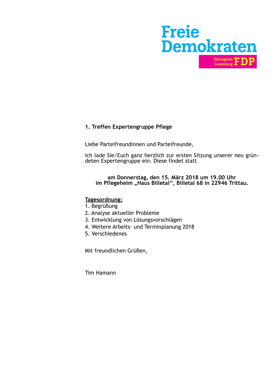 1. Treffen Expertengruppe Pflege (Ergebnisse) - fdp-rzs Webseite!