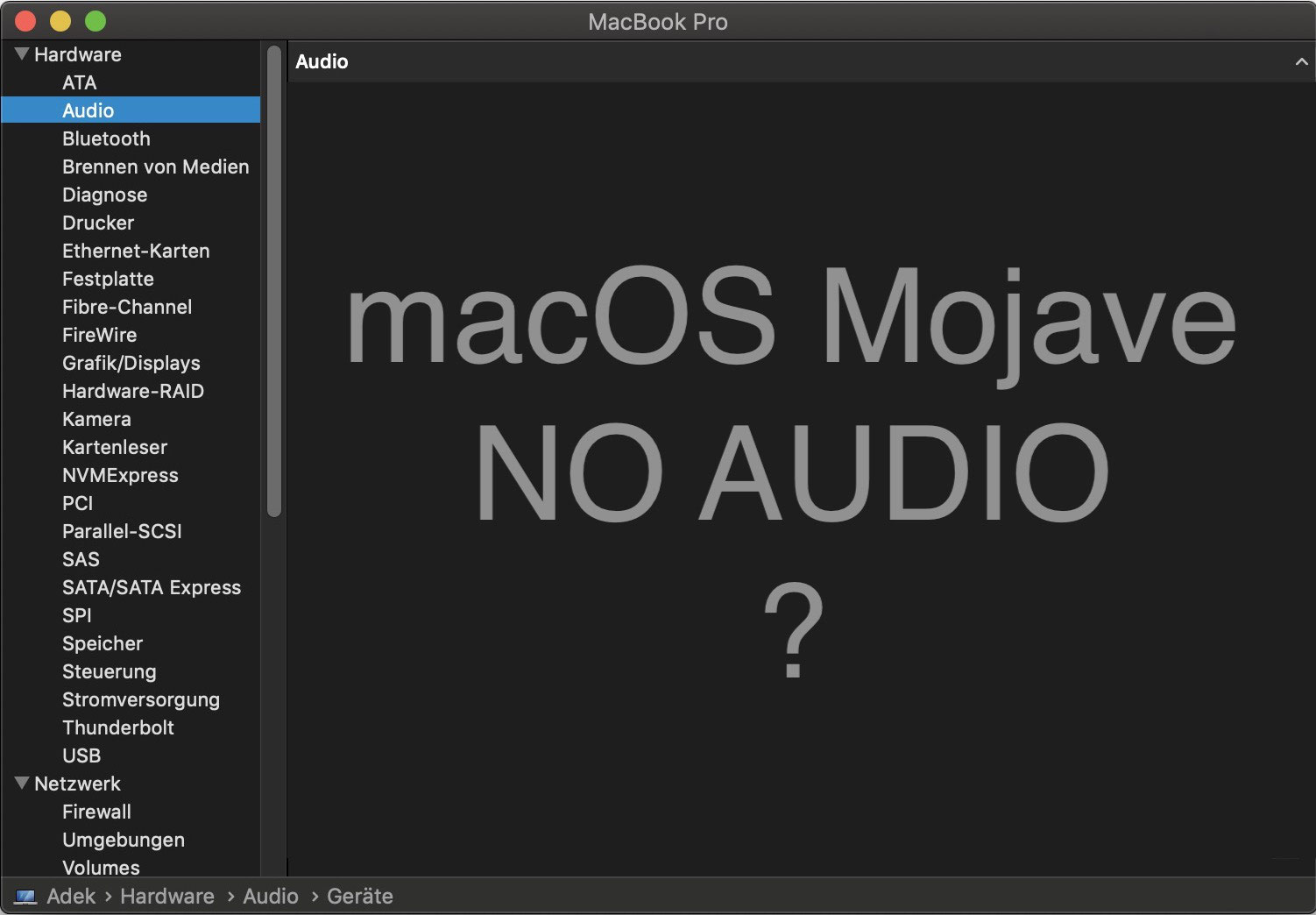 macOS 10 14 Mojave kein Ton nach Update - Der Fotografie und
