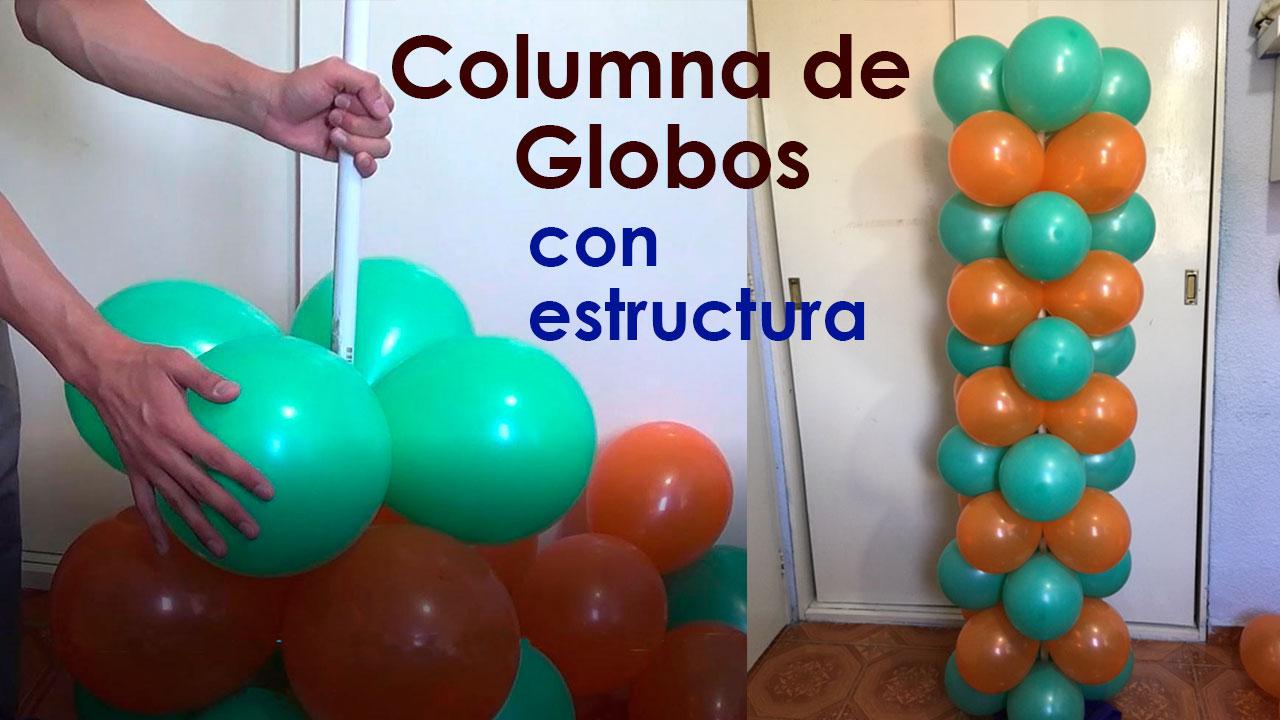 Como hacer una Columna de Globos sin Base - decoracion para fiestas