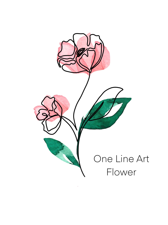 One Line Art FLOWER   Silberstolz