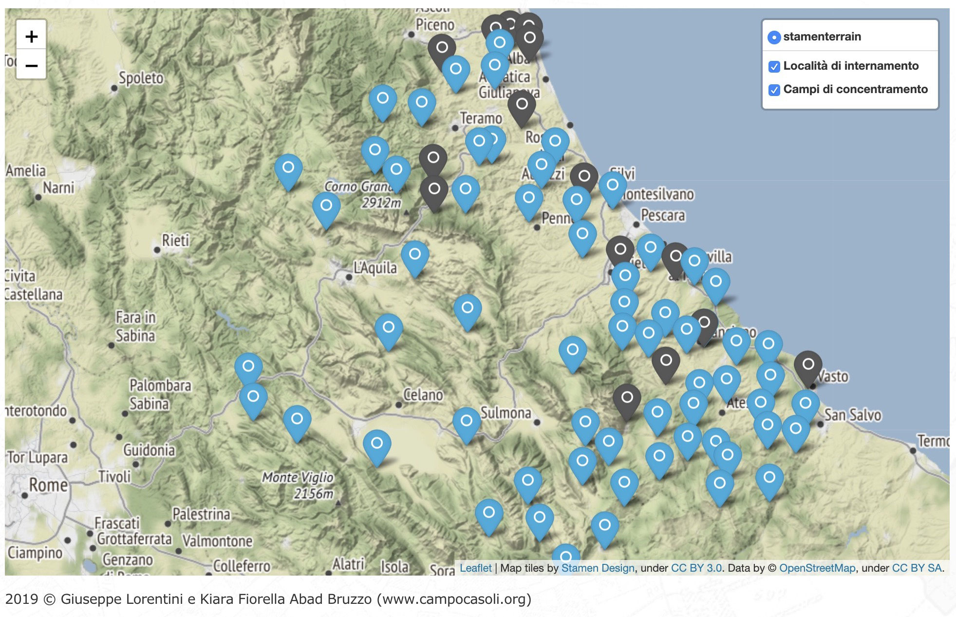 Cartina Italia Interattiva Html.Mappa Interattiva Delle Localita Di Internamento Libero E Dei Campi Di Concentramento Fascisti In Abruzzo Durante Gli Anni 1940 1943 Campocasoli Org