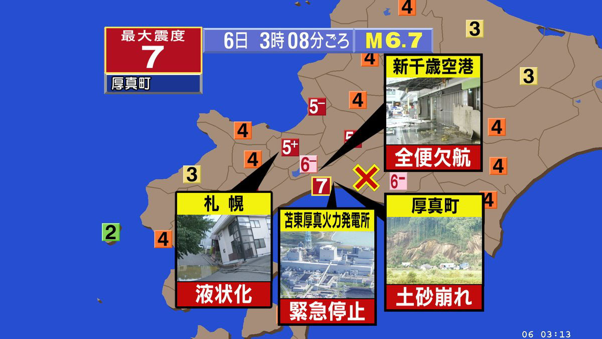 北海道 震度7の強震 電力ストップ