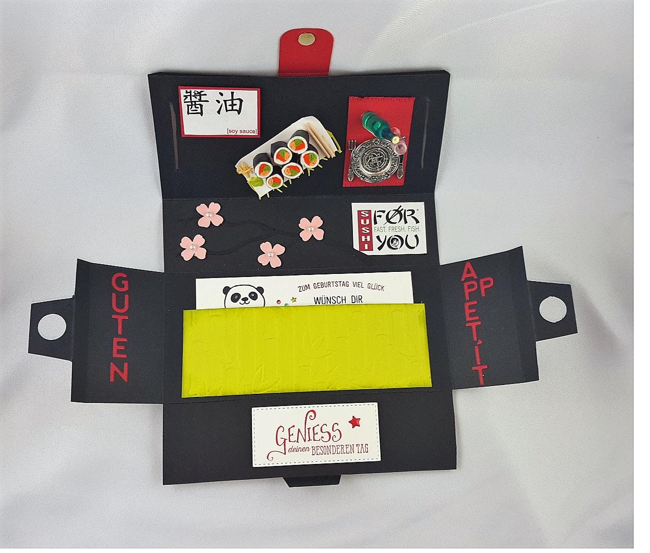 Geschenkbox - Einladung zum Sushi Essen - Stempelliese.com