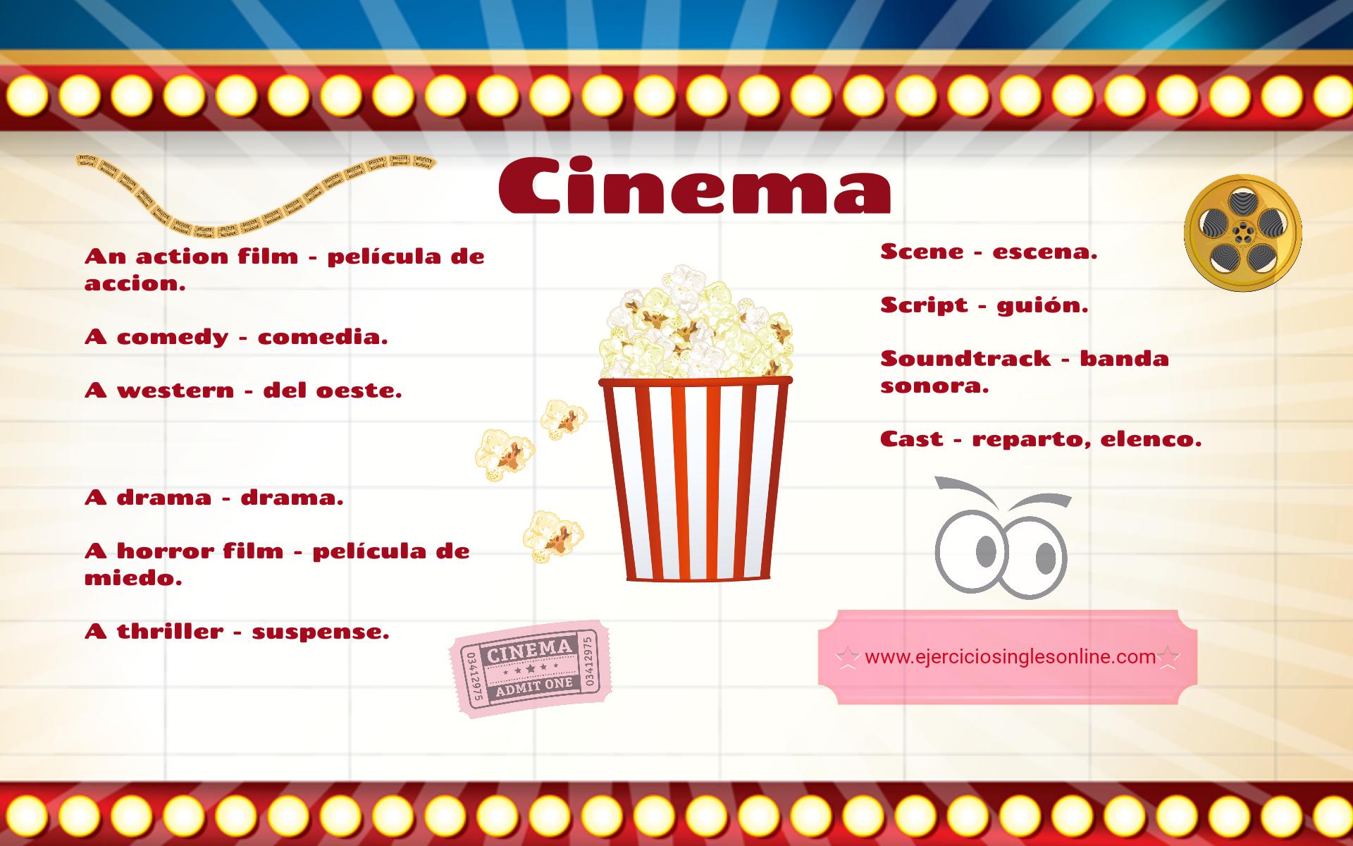 Vocabulario de cine en inglés - Ejercicios inglés online