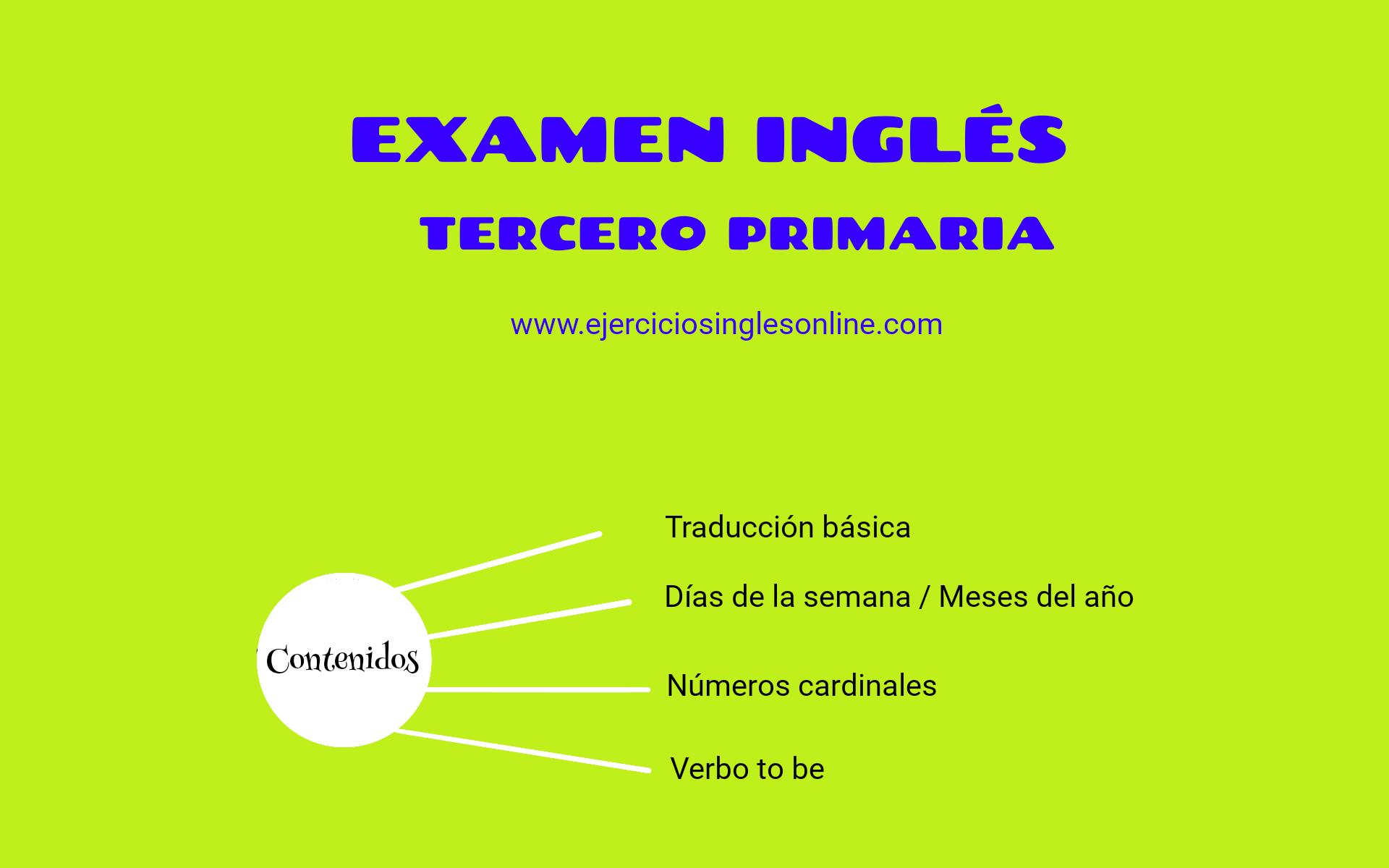 Examen Ingles 3º Primaria Ejercicios Ingles Online