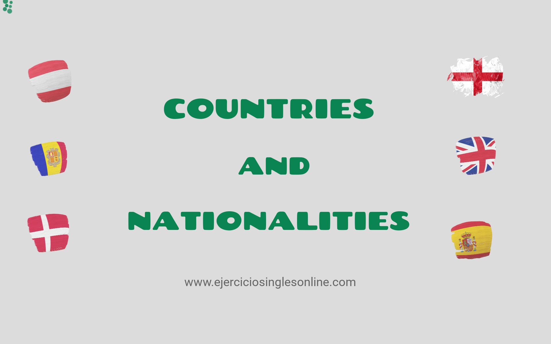 Paises Y Nacionalidades Ejercicios Ingles Online
