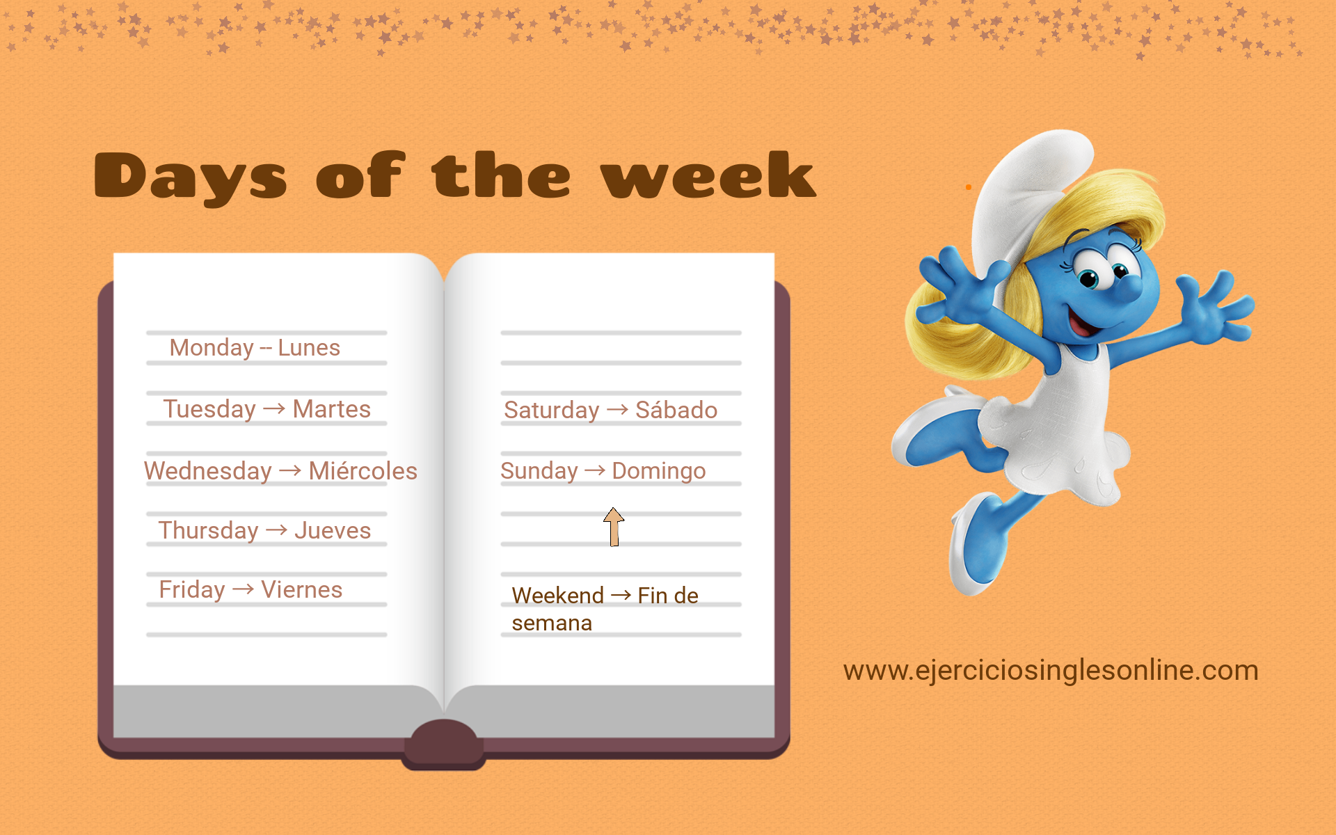 Días de la semana en inglés - Ejercicios inglés online