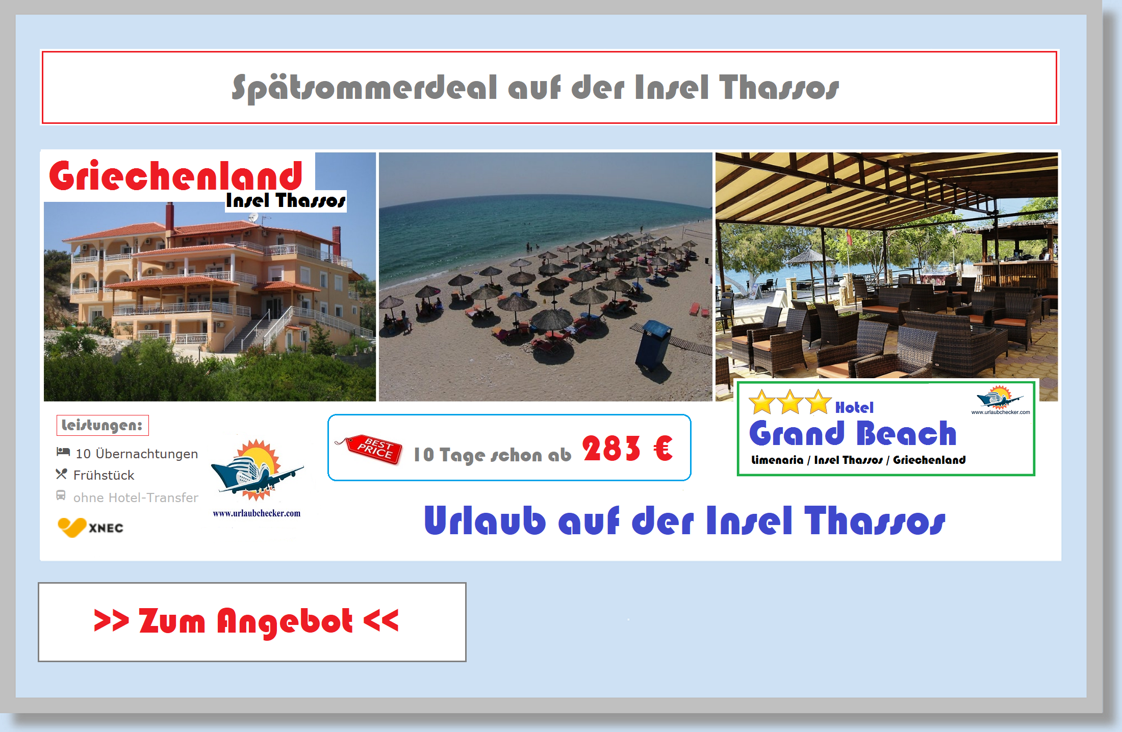 Grand Beach Insel Thassos Griechenland Urlaubchecker
