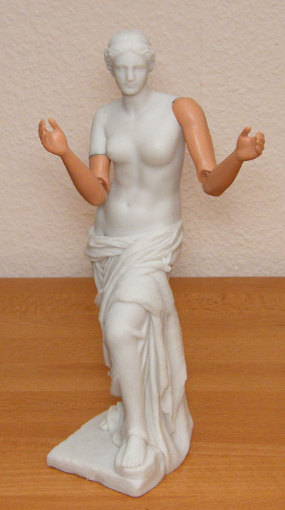 A replica of the Venus with implanted arms of a Barbie Doll - Height: approx 40cm