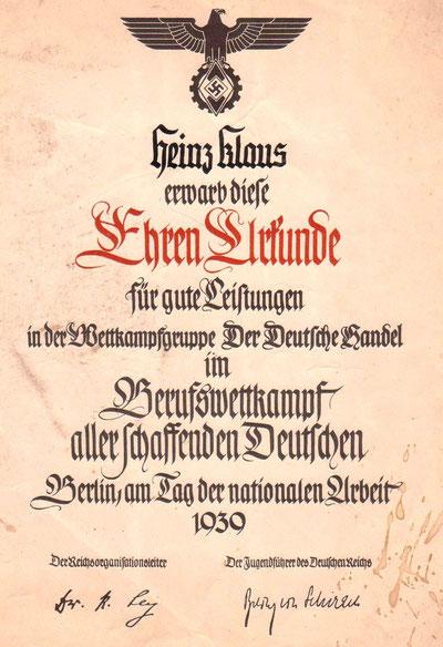 Unterzeichnet von Robert Ley und Baldur von Schirach - Sammlung B.Huhn