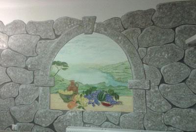 Wandmalerei Steinmauer