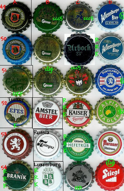 European beer caps, row 49-54.