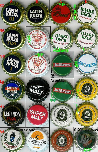 European beer caps, row 37-42.