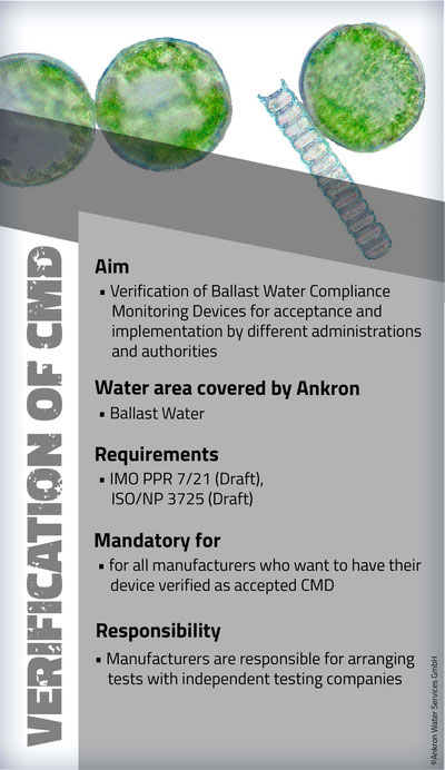 CMD, Verification of CMD, Verification, Ballast Water, Ballastwater, manufacturers, Ballast Water Compliance Monitoring Devices, IMO, ISO, IMO PPR 7/21, ISO/NP 3725