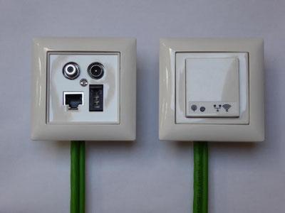 links: homeway-Modul für TV/Radio, LAN und analogen Telefonanschluss // rechts: homeway-Modul für WLAN in_access point 2.4T UP für WLAN
