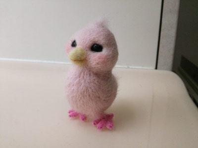 羊毛フェルト ピンクの小鳥