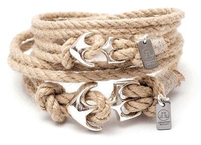 Ankerarmband Damen und Herren aus Segeltau und hangefertigtem Anker aus Silber