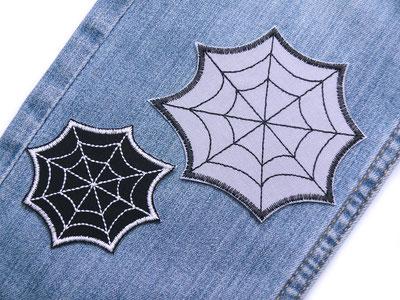 Bild: Spinnennetz grau Bügelbild Applikation Patch zum aufbuegeln