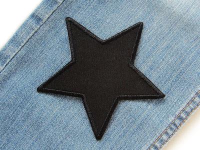 Bild: Stern Flicken schwarz zum aufbügeln, Canvas Aufnäher Hosenflicken