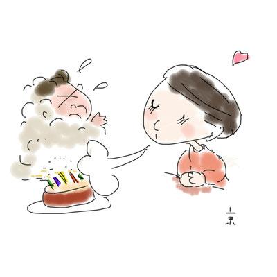 おかみのらくがき絵日記「お誕生日」