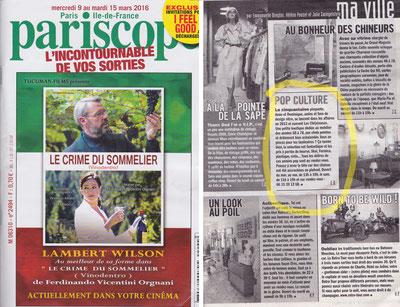 Le Pariscope du 9 au 16 mars 2016 - article sur Les Chi(n)euses