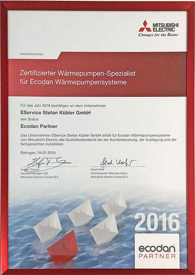 Zertifikat Mitsubishi-Wärmepumpenspezialist