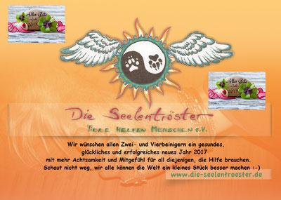 Gesundes neues Jahr wünscht der Tierschutzverein Die Seelentröster - Tiere helfen Menschen e.V.