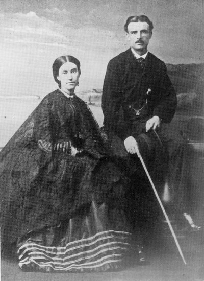 Mary Anne Barker (1831–1911), author and Frederick Napier Broome, colonial administrator and NZ sheep run owner. They returned to the UK after three years having lost half their sheep in snowstorms in