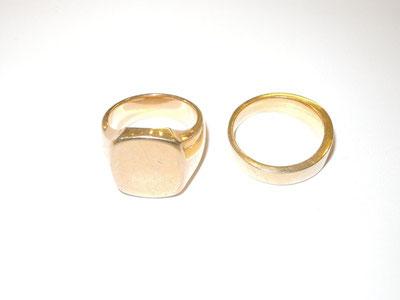 二つの金の指輪。もっと太い指輪をしてみたい希望にこたえます。
