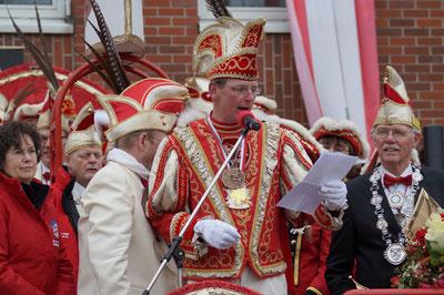 Prinz Karneval 2014, Prinz Uwe I. bei seiner ersten Ansprache, Februar 2014
