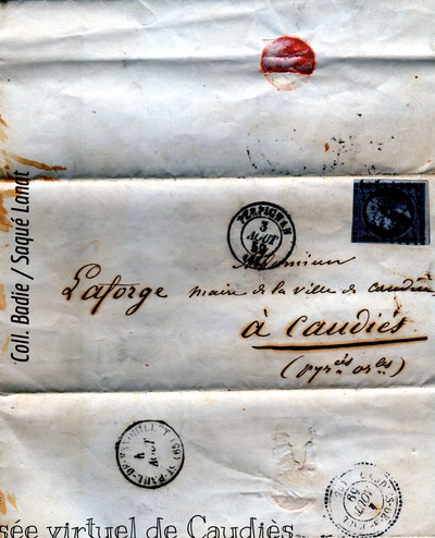 Courrier posté le 3 août 1859, tampon de Caudiès de Saint-Paul le 4 août.
