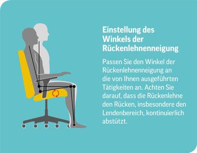 Piktogramm zur Einstellung des Winkels der Bürostuhl Rückenlehnenneigung