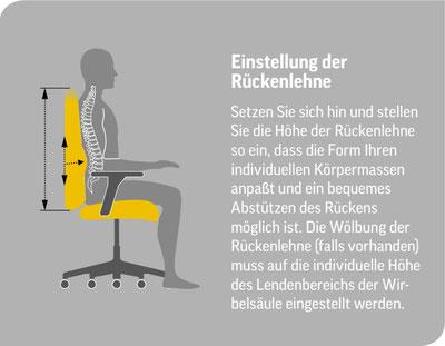 Piktogramm zur Einstellung der Bürostuhl Rückenlehne