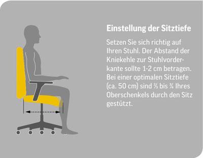 Piktogramm zur Einstellung der Bürostuhl Sitztiefe