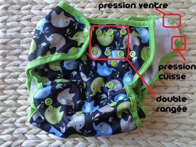 culotte de protection pour couche lavable avec deux rangées de pressions de réglage au niveau de la taille: une pour les cuisses et une pour le ventre  pour éviter les fuites