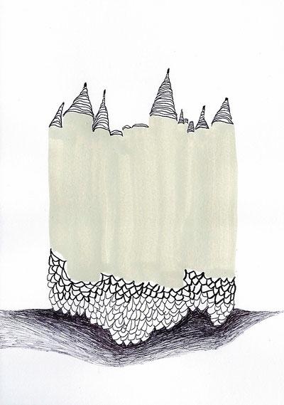 Morphe, 2014, Tusche, Gelstift, Acryl, 20 x 16 cm