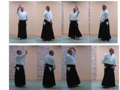 画像⑥横面打ち入り身運動:陰の魄氣から残心。体軸が前に振れ、軸足の交代せんとする陽の魄氣は二コマの間に一瞬の動作として。