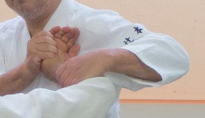 ⑤左手を四方投げの持ち方で脇を開けたまま手首を伸展して受けの前腕屈側を外方に寄せる。取りの手背・手首・肘を一直線のまま脇を閉め更に胸を受けの胸に合わせて結んで行く。